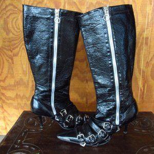 Black Zip & Buckles Heeled Boots Size 7.5